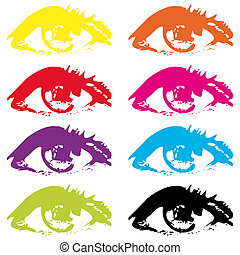 Eyes - Abstract eyes in different colors isolated on white...