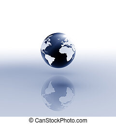 World Blue - Globe on abstract white/blue background.