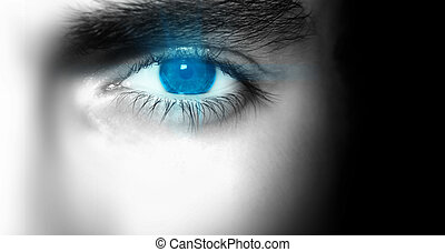 Blue Eye - A close up of a man\'s eye.