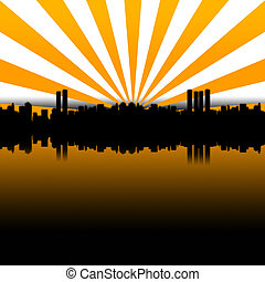 Big City Yellow - Silhouette of a large city skyline with...