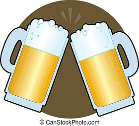 Beer Steins - Two beer steins making a toast on a brown...