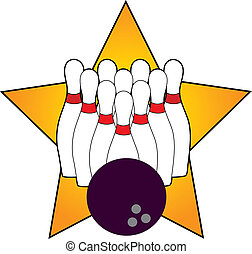 Bowling Star - Ten bowling pins and a bowling ball