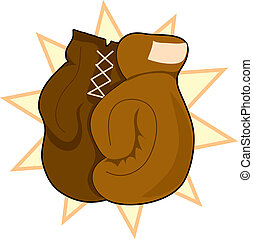 Boxing Gloves - Pair of brown boxing gloves on a star...