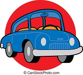Car - Small blue compact car on red circle background