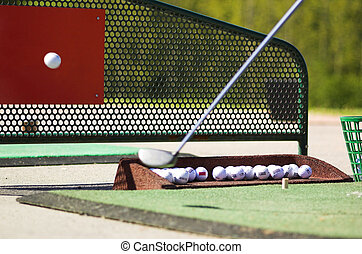 Golf Strike 3 - An airborne golf ball just being hit by the...