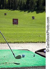 Ready to Strike - Golfclub at the ready to strike a golf...