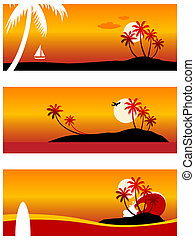 Summer Vacation - Illustration of a tropical vacation...