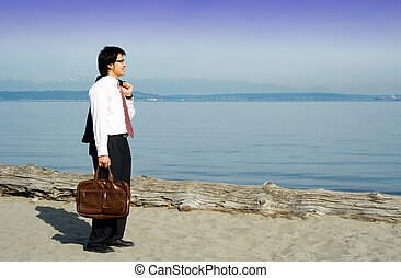 Relaxing businessman - A businessman on a break and relaxing...
