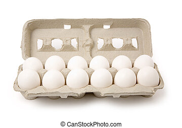 white eggs in carton with white background