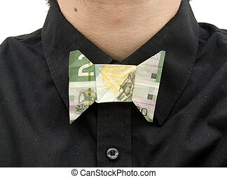 Money Bow Tie - A bow tie made of a 20 dollar bill on a...