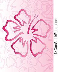 Hibiscus pattern with pink floral background