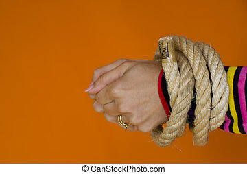 Captive woman 1 - Woman hands tiedup with a strong rope