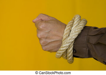 Captive men - men hands tiedup with a strong rope