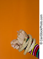 Captive woman - Woman hands tiedup with a strong rope