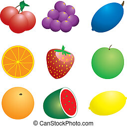 fruit n veg - Illustration of a number of fruit and veg that...