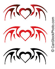 Gothic heart with wings