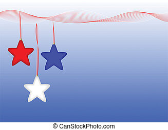 Star Ornaments - Red white and blue star ornaments hang from...