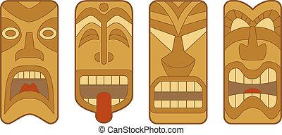 Tiki - Four funny Hawaiian Tiki masks on white background