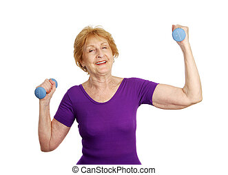 Senior Workout - Lifting Weight - A pretty senior woman...