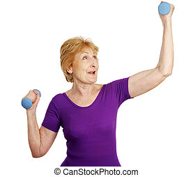 Senior Workout - Power - A senior woman working out with...