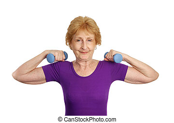 Senior Workout - Strength - A fit pretty senior worman...