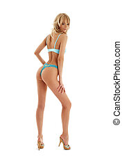pin-up blond in blue lingerie 2 - pin-up blond in blue...