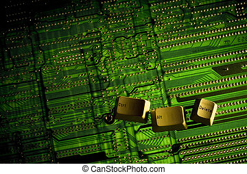 Ctrl Alt Delete keys placed on a backlight circuit board.