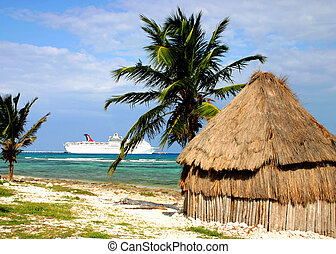 Beach Hut - Rustic beach hut under palm trees with cruise...