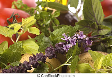 cut fresh herbs and vegatables - fresh herbs, vegetables,...