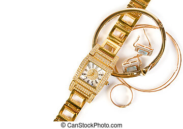 Golden clock and jewellery. Isolate on white background.
