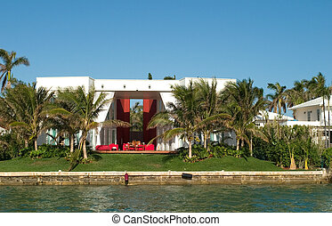 Mansion with curtains