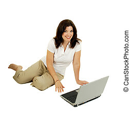Woman And Laptop Computer - Woman Sitting On The Floor Using...