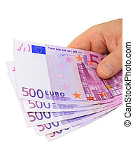 Hand holding euro notes clipping path included - Male hand...
