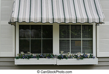 Window with awning - Striped awning on window with flower...