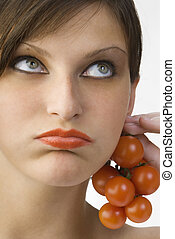 ear rings - nice portrait of a girl with tomatoes and...