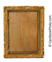 ruined frame - old worn out gilded frame isolated on white...