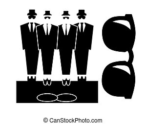 Bouncers or blues brothers - Four male figures dressed in...