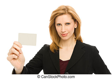 Businesswoma with credit card - Businesswoman holds up a...