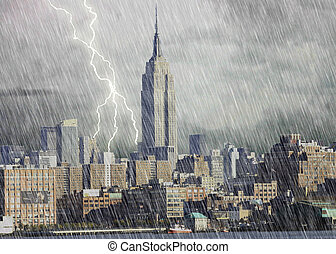 New York City Storm - New York City skyline under a storm...