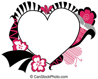 Heart Floral Frame - A Pink and Black Series: Heart