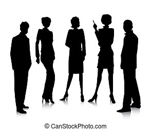 Business Team Silhouette with Clipping Path