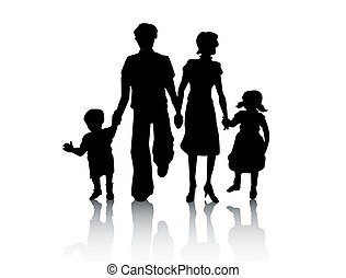 Family Silhouette with Clipping Path