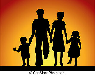Family - Silhouette of a Family walking