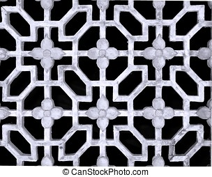 Chinese Latticework - -- old window with geometrical and...