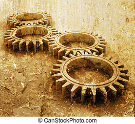 Grunge gears - Interlocking gears on grunge style background