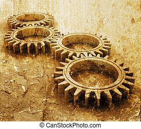 Grunge gears - Interlocking gears on grunge style background