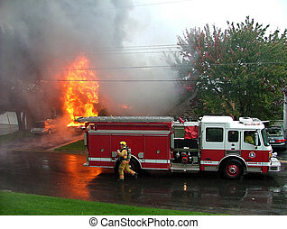 Structure Fire with Fire Engine