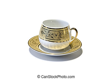 Golden tea cup - Isolated tea cup