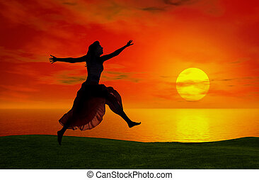 Jumping at the sunset
