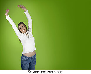 Hapiness on green - Beautiful and happy young woman on a...